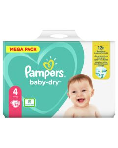 Couches baby dry, T4 12h Méga pack X88